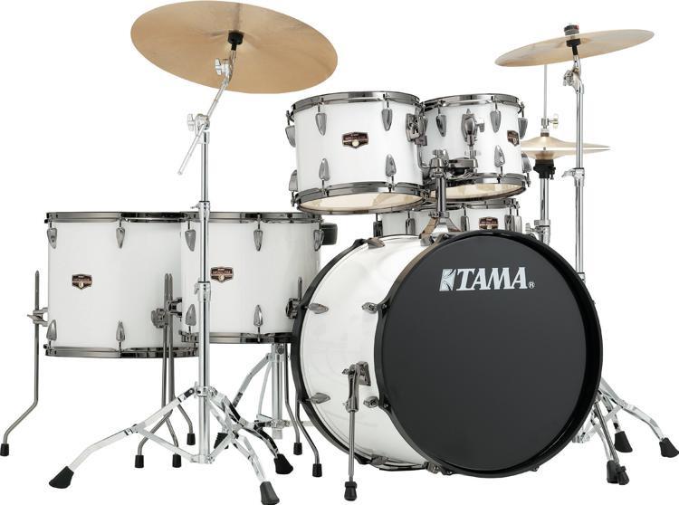 tama imperialstar complete drum set 6 piece sugar white with black nickel hardware sweetwater. Black Bedroom Furniture Sets. Home Design Ideas