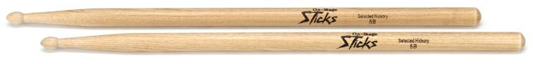 On-Stage Stands 5B Wood Tip Hickory Drumsticks image 1