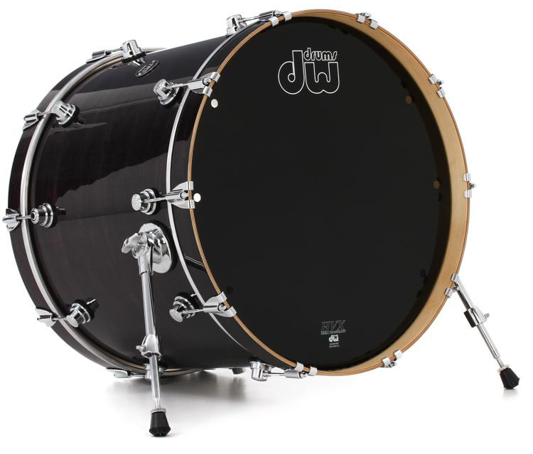 dw performance series bass drum 18 x 22 ebony stain lacquer sweetwater. Black Bedroom Furniture Sets. Home Design Ideas