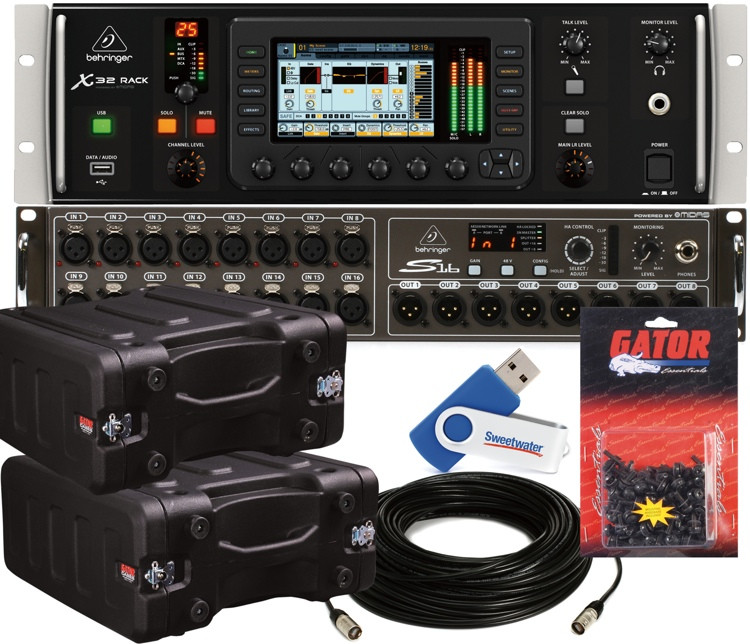 behringer x32 rack digital mixer package w rack case and digital snake sweetwater. Black Bedroom Furniture Sets. Home Design Ideas