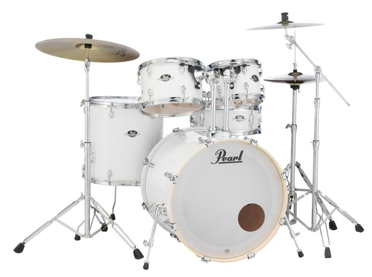 pearl export exx 5 piece drum set with cymbals hardware pure white sweetwater. Black Bedroom Furniture Sets. Home Design Ideas