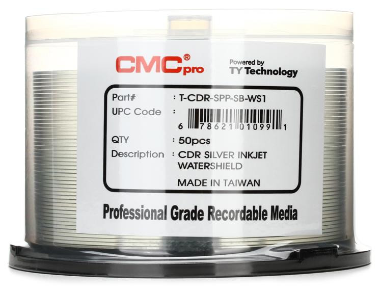 CMC Pro WaterShield Silver Water Resistant Inkjet Printable CD-R, 50pk Spindle image 1