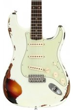 Fender Custom Shop '59 Stratocaster Heavy Relic/Closet Classic Mix - Olympic White Over 3-tone Sunburst