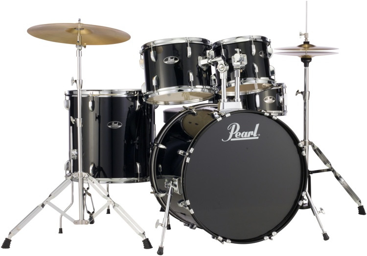pearl roadshow 5pc drum set with wuhan cymbals jet black sweetwater. Black Bedroom Furniture Sets. Home Design Ideas