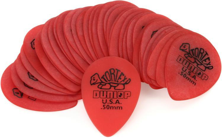 Dunlop 423R.50 Tortex Small Tear Drop .50mm Red Guitar Picks 36-Pack image 1