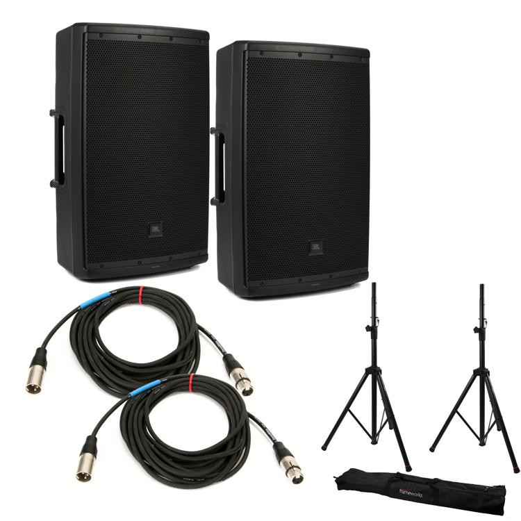 jbl eon612 speaker pair with stands and cables sweetwater. Black Bedroom Furniture Sets. Home Design Ideas