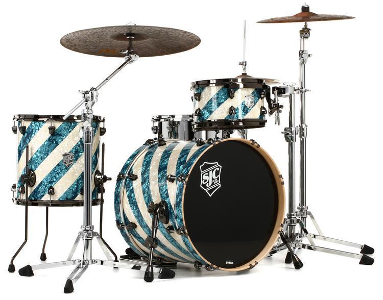 sjc custom drums usa custom 3 piece shell pack barbershop aged white pearl turquoise pearl. Black Bedroom Furniture Sets. Home Design Ideas