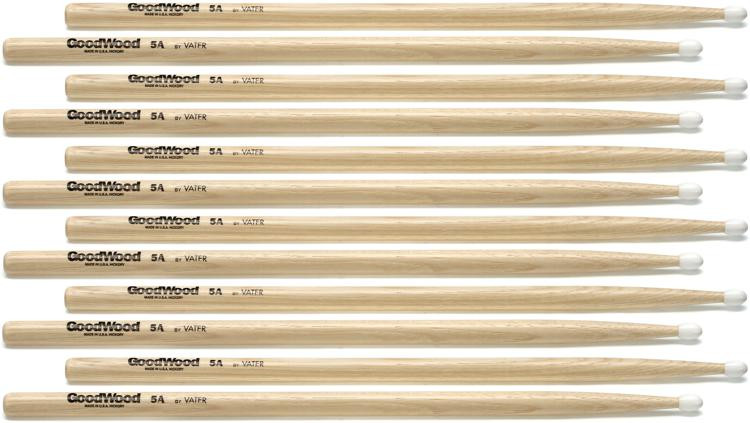 Goodwood US Hickory Drumsticks - 6 Pair - 5A - Nylon Tip image 1