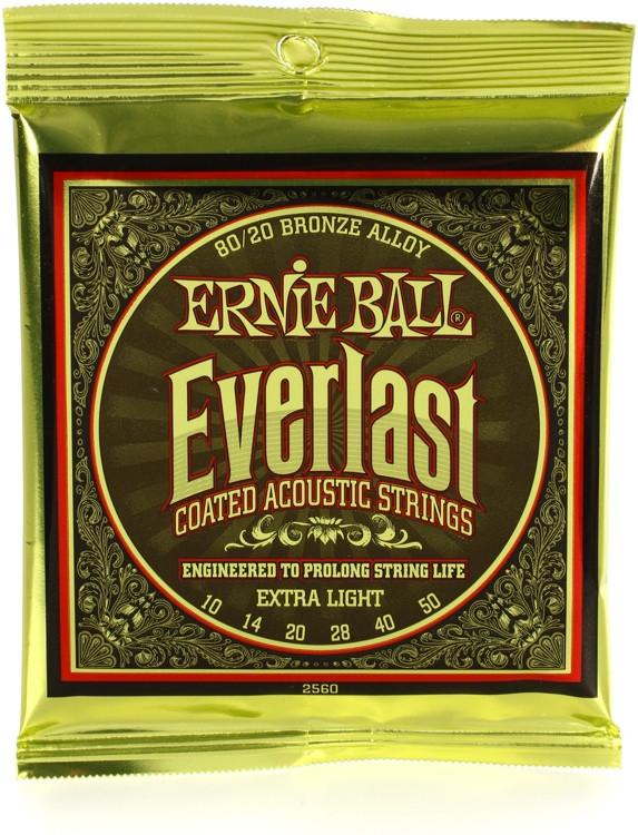 Ernie Ball 2560 Everlast Coated 80/20 Bronze Extra Light Acoustic Strings image 1
