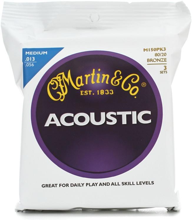 Martin M-150 80/20 Bronze Medium Acoustic Strings 3-Pack image 1