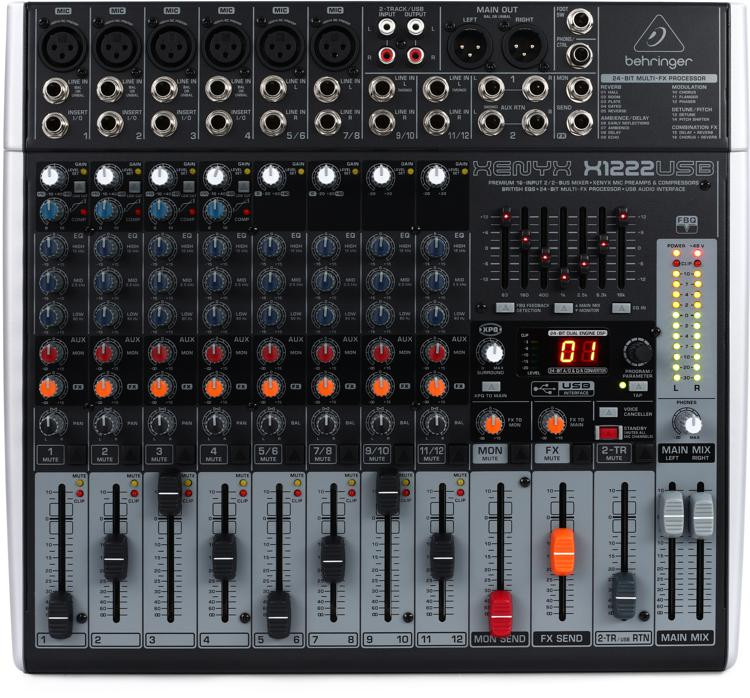 Behringer Xenyx X1222USB Mixer and USB Audio Interface with Effects image 1