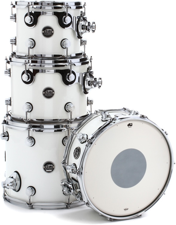 DW Performance Series 4-piece Tom/Snare Pack - White Ice Lacquer image 1