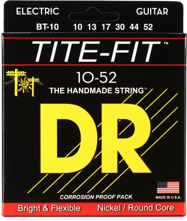 DR Strings BT-10 Tite-Fit Compression Wound Big-Heavy Electric Guitar Strings image 1