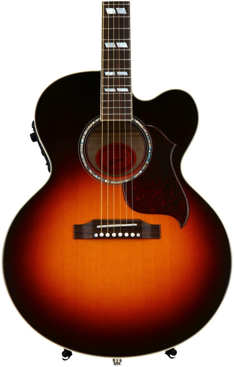 gibson acoustic j 185 ec quilt custom sunset burst sweetwater. Black Bedroom Furniture Sets. Home Design Ideas