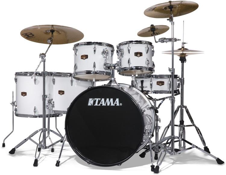 tama imperialstar complete drum set with bonus pack 6 piece sugar white sweetwater. Black Bedroom Furniture Sets. Home Design Ideas