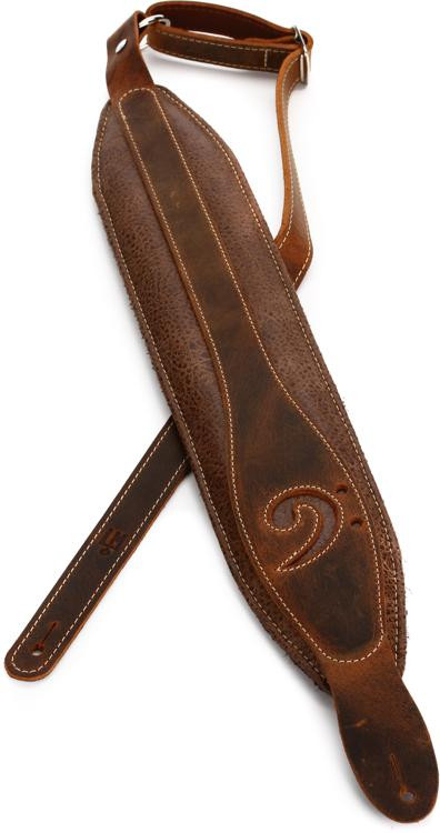 LM Products X-Clef Worn Leather Bass Strap - Brown image 1