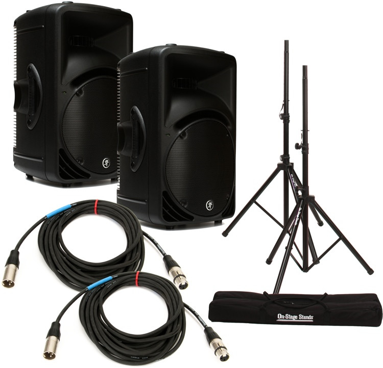 Mackie SRM450 Speaker Pair with Stands and Cables image 1