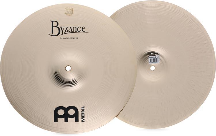 Meinl Cymbals Byzance Brilliant Medium Hi-hat Cymbals - 14
