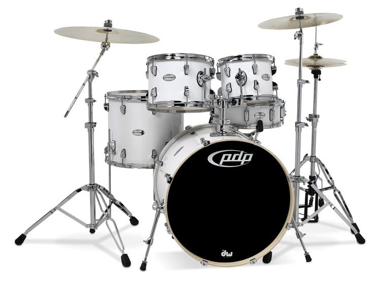 pdp mainstage 5 piece drum set with hardware paiste cymbals gloss white sweetwater. Black Bedroom Furniture Sets. Home Design Ideas