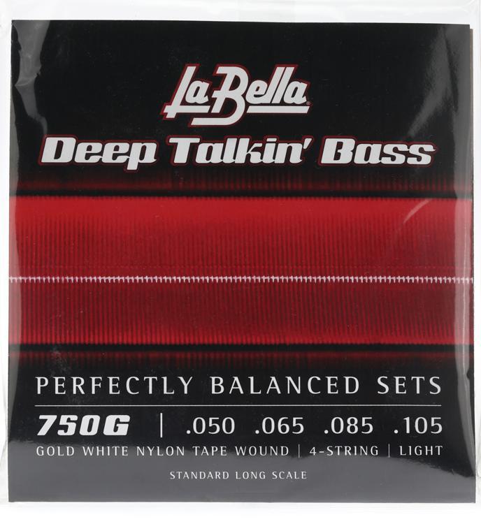 La Bella 750G Gold White Nylon Tapewound Bass Strings - Light image 1