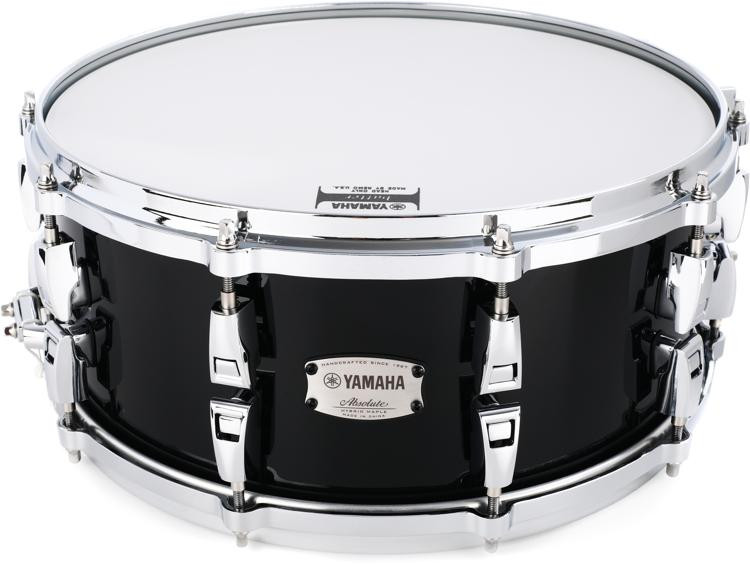 Yamaha Absolute AMS1460 Hybrid Maple Snare - Solid Black image 1