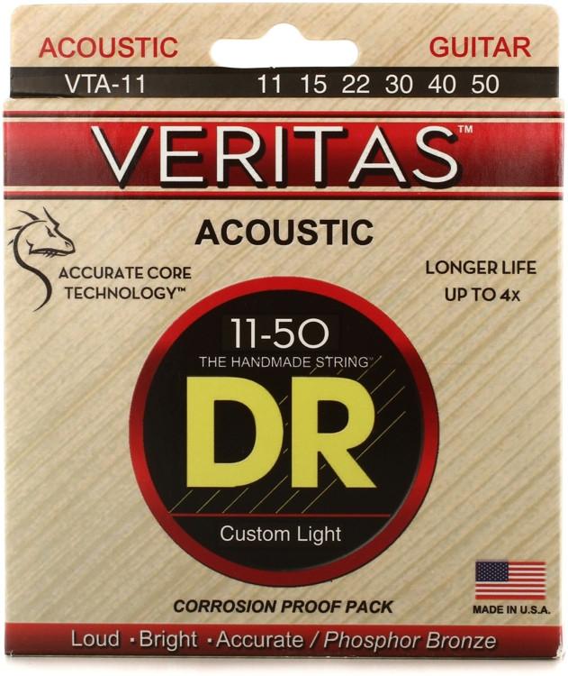 DR Strings VTA-11 - 0.011-0.050 Custom Light Phosphor Bronze Acoustic Strings image 1