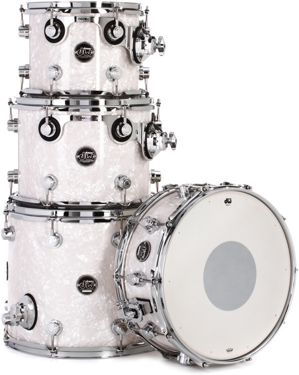 DW Performance Series 4-Piece Tom/Snare Pack - White Marine Finish Ply image 1