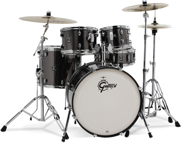 gretsch drums energy 5 piece drum set with hardware and zildjian cymbals gray steel sweetwater. Black Bedroom Furniture Sets. Home Design Ideas