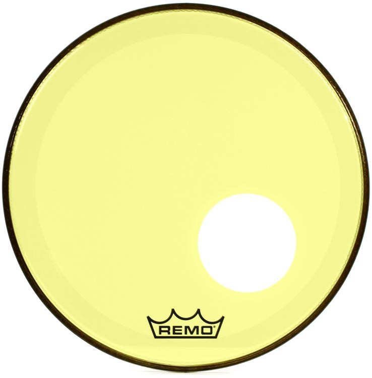 remo powerstroke 3 colortone bass drum head 18 yellow w port hole sweetwater. Black Bedroom Furniture Sets. Home Design Ideas