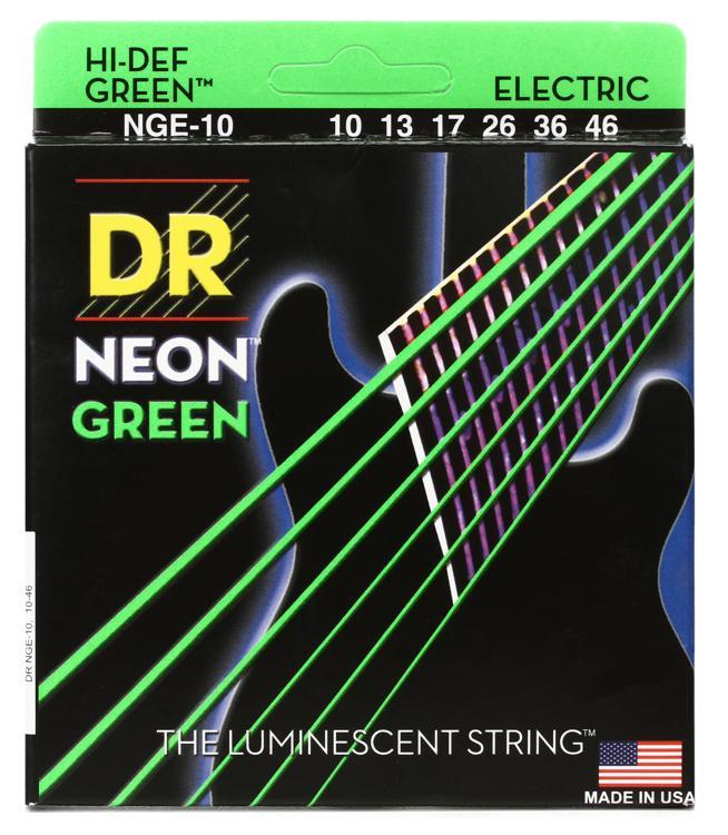 DR Strings NGE-10 Neon Hi-Def Green K3 Coated Medium Electric Guitar Strings image 1