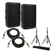 JBL EON615 Speaker Pair with Stands and Cables