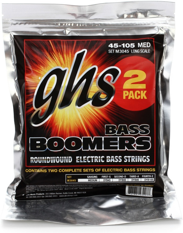 GHS M3045-2 Bass Boomers Roundwound Long Scale Medium Electric Bass Strings - 2-Pack image 1