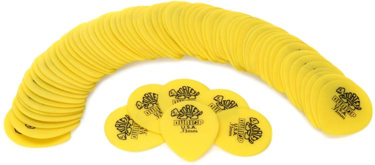 Dunlop 413R.73 Tortex Tear Drop .73mm Yellow Guitar Picks 72-Pack image 1