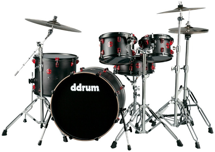 ddrum Hybrid Acoustic/Electric Drum Set - 5pc, Black with Red Hardware image 1