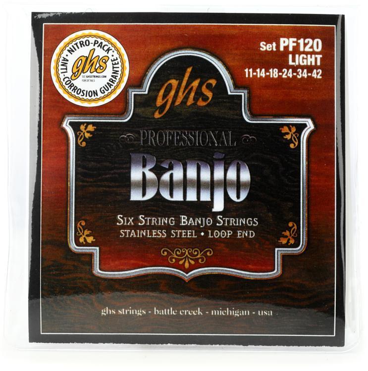 GHS PF120 6-String Banjo Loop End Strings - Light image 1