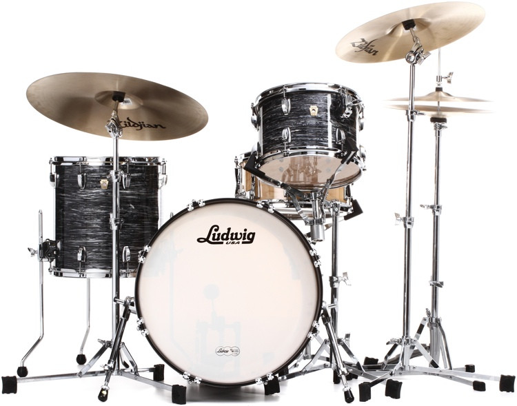 Ludwig Classic Maple Downbeat 20 Shell Pack - Vintage Black Oyster Pearl image 1