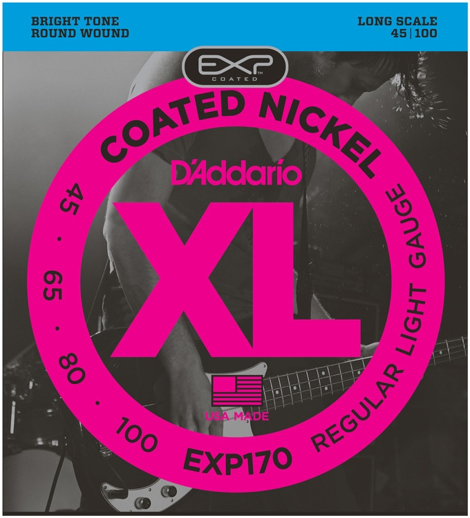 D\'Addario EXP170 Coated Round Wound Long Scale Light Bass Strings image 1
