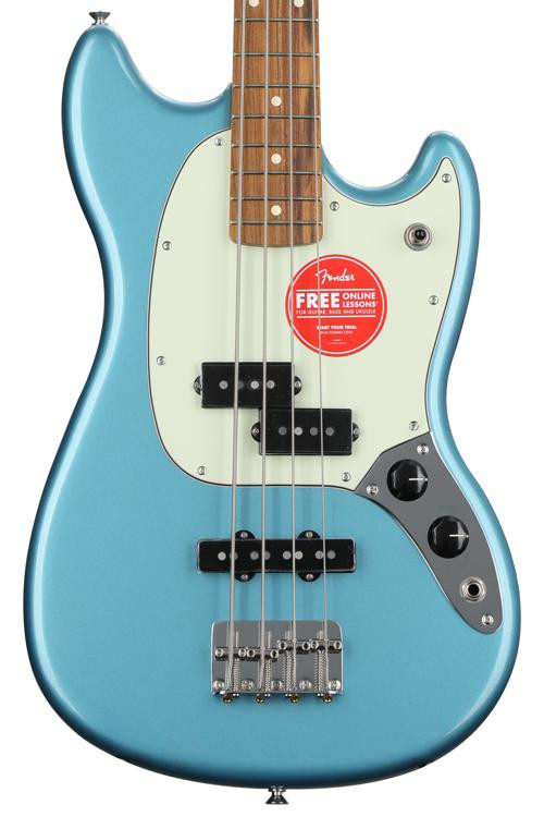 fender special edition mustang pj bass sweetwater usa exclusive tidepool w pau ferro fingerboard. Black Bedroom Furniture Sets. Home Design Ideas