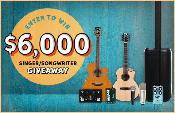 $6,000 Singer/Songwriter Giveaway -- input your email address below to enter or click here to learn more.