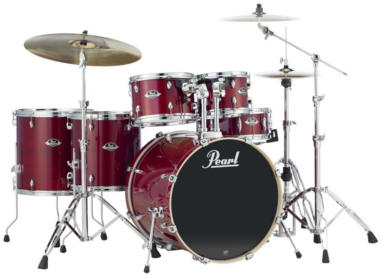 pearl export exl 6 piece rock drum set with hardware natural cherry sweetwater. Black Bedroom Furniture Sets. Home Design Ideas