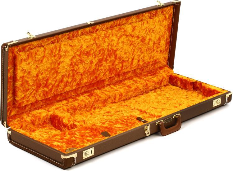 Fender Deluxe Strat/Tele Case - Brown w/ Gold Plush Interior image 1