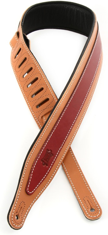 Levy\'s MV17 Two-Tone Veg Tan Leather Strap with Cable Stitching - Russet/Cranberry image 1