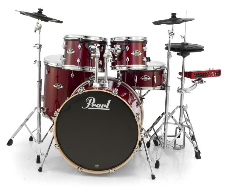 Pearl E-Pro Powered by Export Lacquer 5 Piece Electronic Drum Set Fusion - Natural Cherry image 1