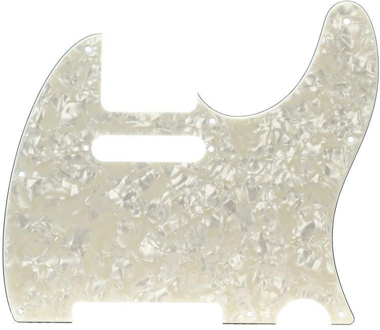 Fender Standard Telecaster Pickguard - Aged White Moto 8-Hole image 1