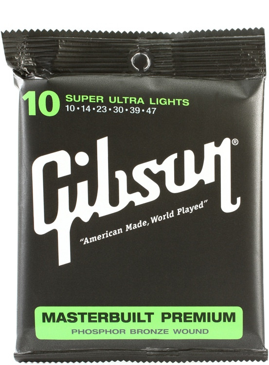 Gibson Accessories SAG-MB10 Masterbuilt Premium Phosphor Bronze Super Ultra Light Acoustic Guitar Strings image 1