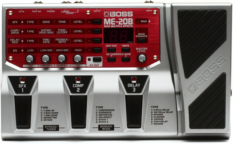 boss me 20b bass multi effects pedal sweetwater. Black Bedroom Furniture Sets. Home Design Ideas