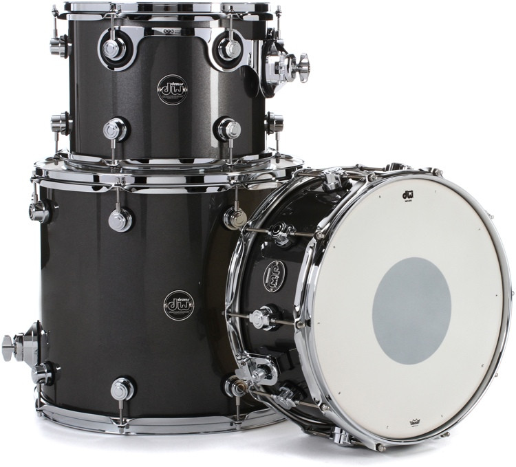 DW Performance Series 3-piece Tom/Snare Pack - Gun Metal Metallic Lacquer image 1