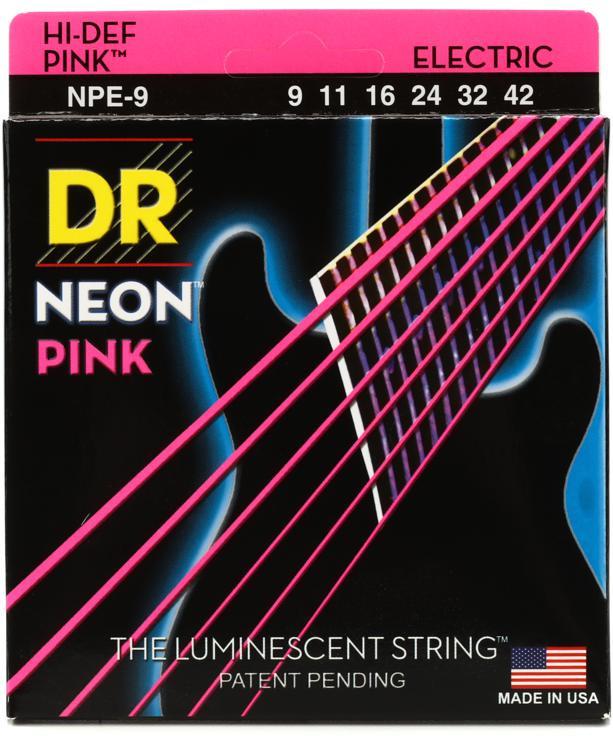 DR Strings NPE-9 Neon Hi-Def Pink K3 Coated Lite Electric Guitar Strings image 1