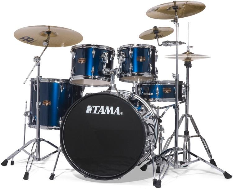 tama imperialstar complete drum set with bonus pack 5 piece midnight blue sweetwater. Black Bedroom Furniture Sets. Home Design Ideas