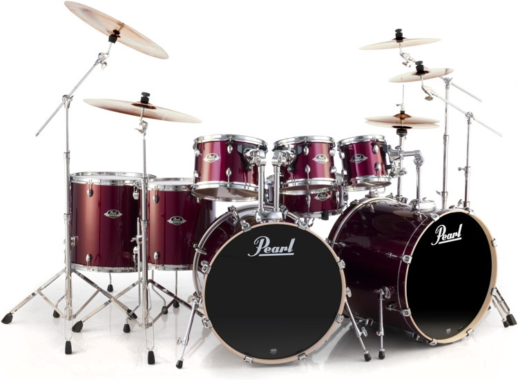 Pearl Export EXX 8-piece Double Bass Drum Set with Hardware - Wine Red image 1